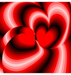 Design hearts twisting movement background vector image