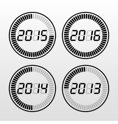 Digital years time icon set vector image