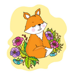 doodle cute little fox in flowers vector image