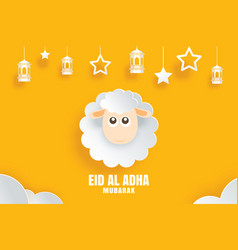 Eid al adha mubarak celebration card with sheep vector