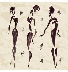 Figures african dancers hand drawn vector