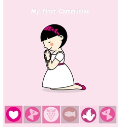 First communion card girl praying vector