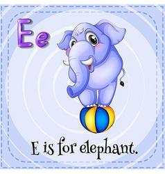 Flashcard e is for elephant vector
