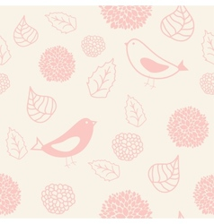 Floral seamless pattern in retro style with birds vector image