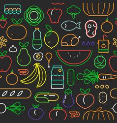 food seamless pattern modern outline icons vector image