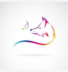 fox head and butterfly on white background wild vector image