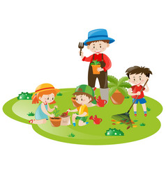Gardener and many children working in garden vector