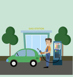 gas stations and service staff vector image
