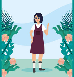 girl with blouse and dress casual clothes vector image