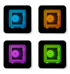glowing neon safe icon isolated on white vector image