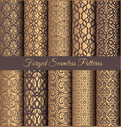 golden patterns forged vintage design vector image