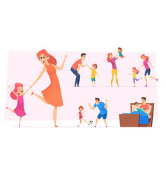 good time kids happy parents with children vector image