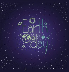 Group planets earth day celebration vector