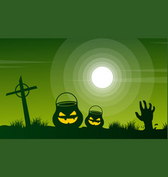 Halloween at night scary landscape vector
