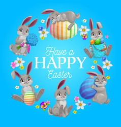 happy easter flower wreath with bunnies and eggs vector image