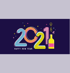 happy new year- 2021 greeting background design vector image