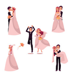 Happy wedding couple set bride and groom vector