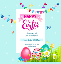 Holiday easter card and eggs vector