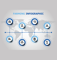 infographic design with farming icons vector image