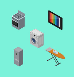 Isometric appliance set of cloth iron laundry vector