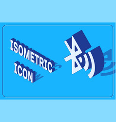 Isometric bluetooth connected icon isolated on vector