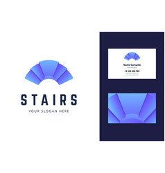 Logo and business card template with stair sign vector