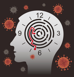male head silhouette with clock maze and corona vector image