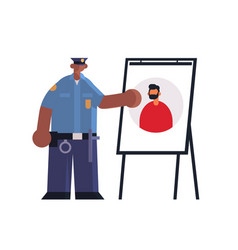 Male police officer presenting information board vector