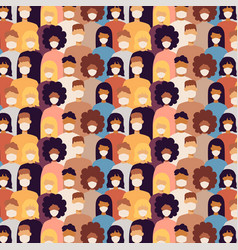 many people with masks seamless pattern vector image
