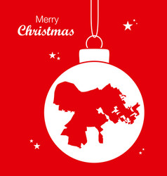 Merry christmas theme with map of louisville vector
