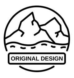Mountains logo outline style vector
