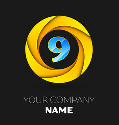 Number nine logo symbol in colorful circle vector