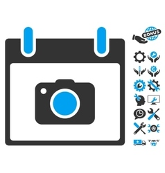 Photo Camera Calendar Day Icon With Bonus vector image