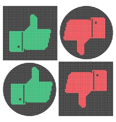Pixel thumb icons Like icon Dislike icon vector