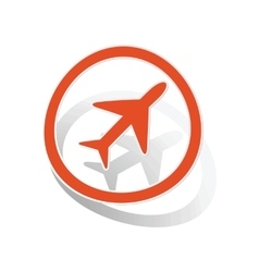 Plane sign sticker orange vector image