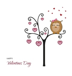 Postcard Happy Valentines Day Fanny owl vector