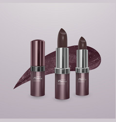 Realistic brown lipstick with stroke of lipstick vector