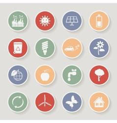 Round ecology icon set vector