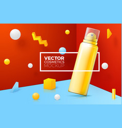 scene with border around mousse bottle vector image