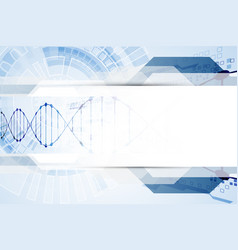 Science template dna molecules background vector