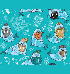 Seamless pattern with hipster walruses with beards vector