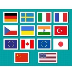 set european union usa ukraine china japan vector image