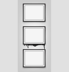 set of black frames on white background with vector image