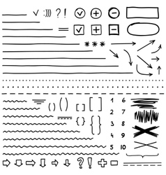Set of hand drawn elements for edit and select vector