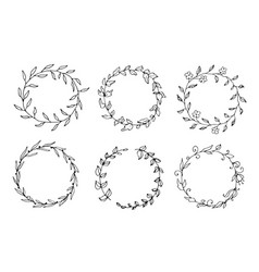 Set of hand drawn round floral wreaths vector