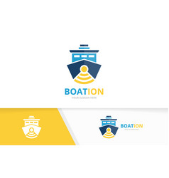ship and wifi logo combination boat and vector image