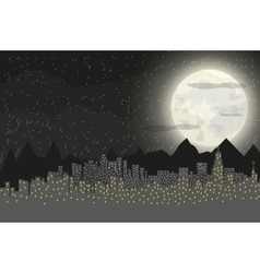 Silhouette of the city and night sky vector