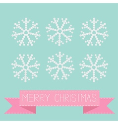Six button snowflakes blue Pink ribbon Christmas vector