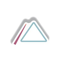 Stylish icon in paper sticker style billiard cue vector