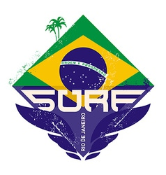 Surfing vintage label with palm and Brazil flag vector image